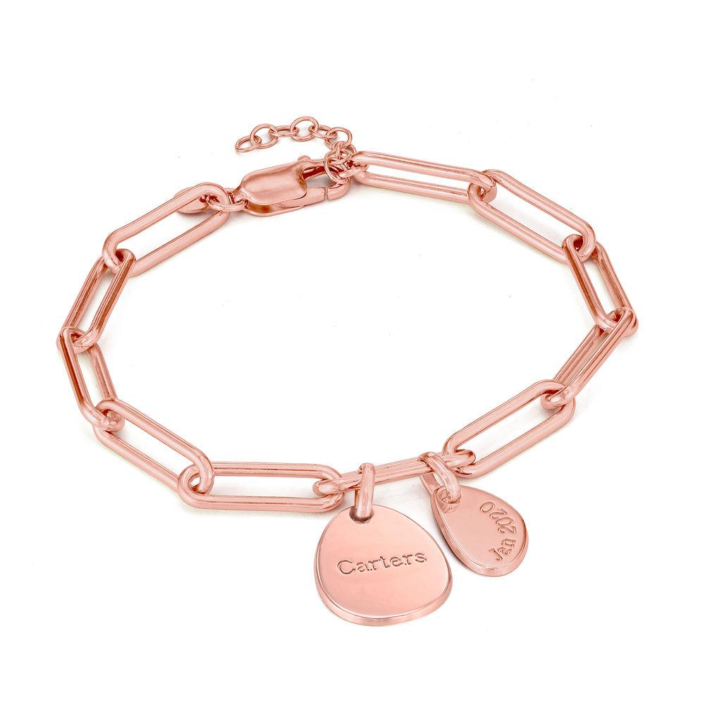 Personligt link armbånd med graverede charms i 18kt. rosaforgyldt sølv - 1