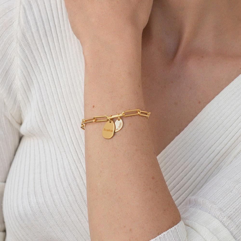 Personligt link armbånd med graverede charms i 18kt. guld vermeil - 2