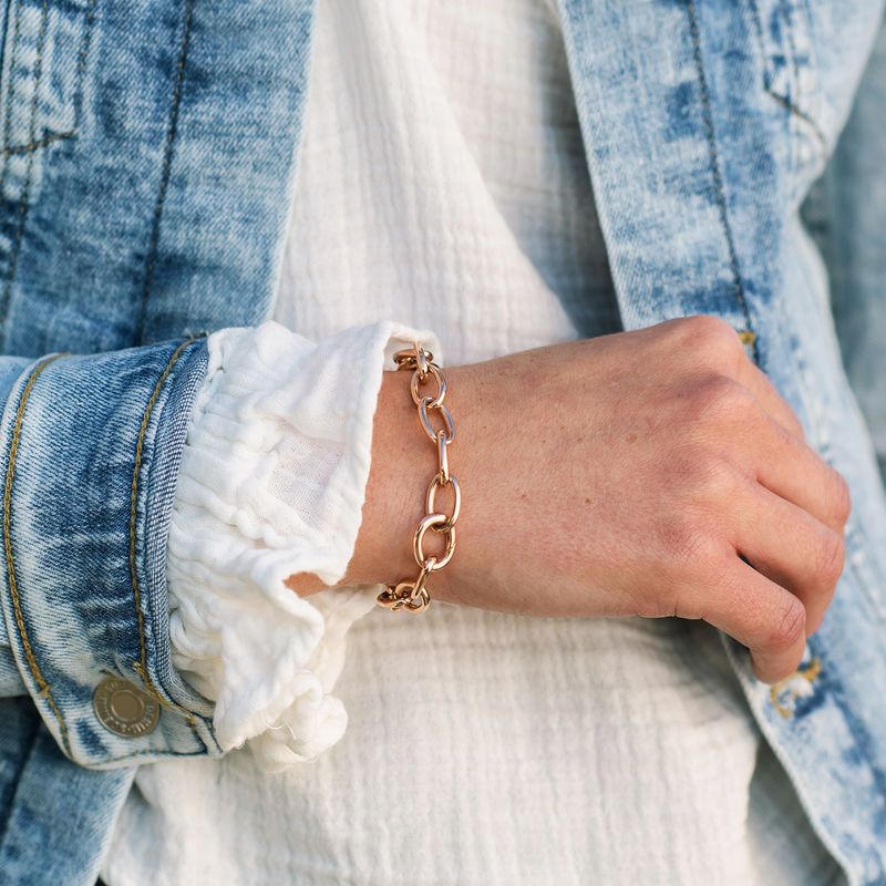 Link armbånd med runde links i 18kt.rosaforgyldt sølv - 2