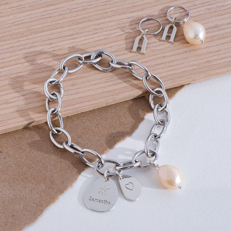 Personligt link armbånd med runde links oggraverede charms i Sterlingsølv - 2