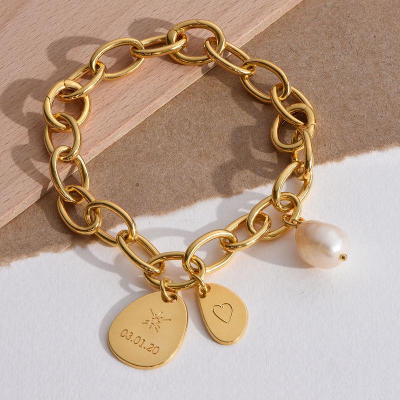 Personligt link armbånd med runde links og graverede charms i 18kt.guld vermeil - 2