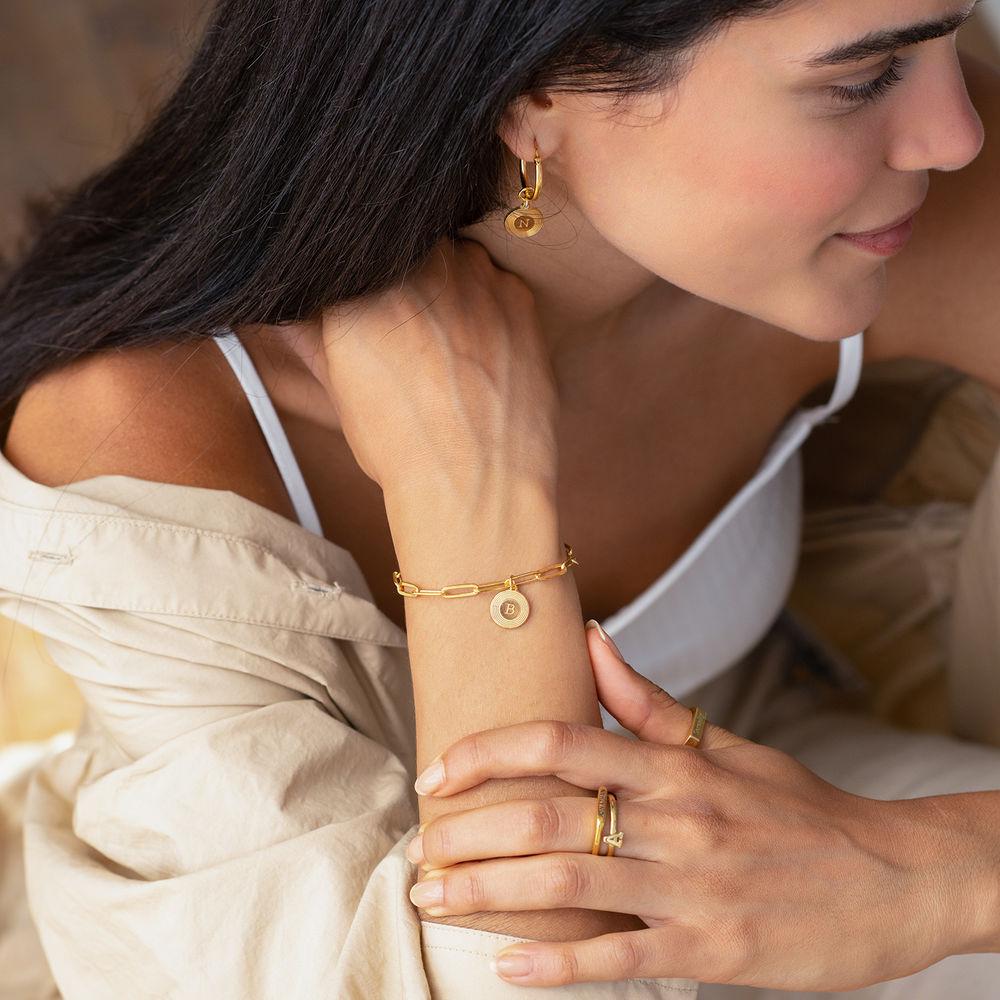 Odeion kæde armbånd med bogstav i guld vermeil - 1