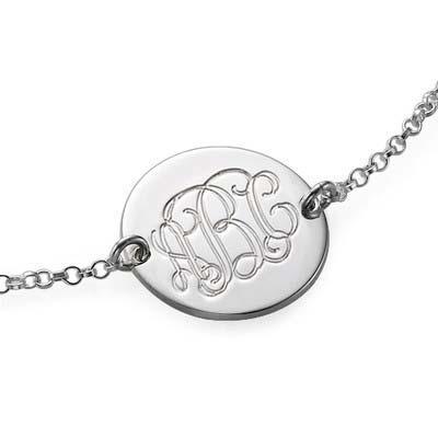 Armbånd med bogstaver i momogram stil i sølv - 1