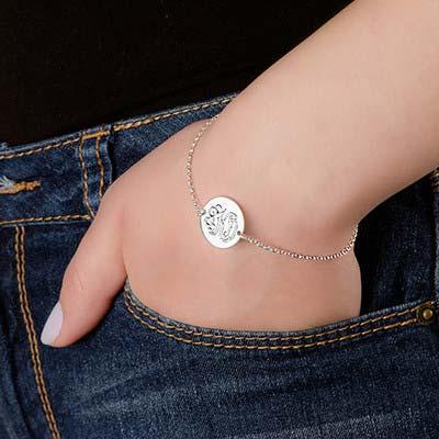 Armbånd med bogstaver i momogram stil i sølv - 2