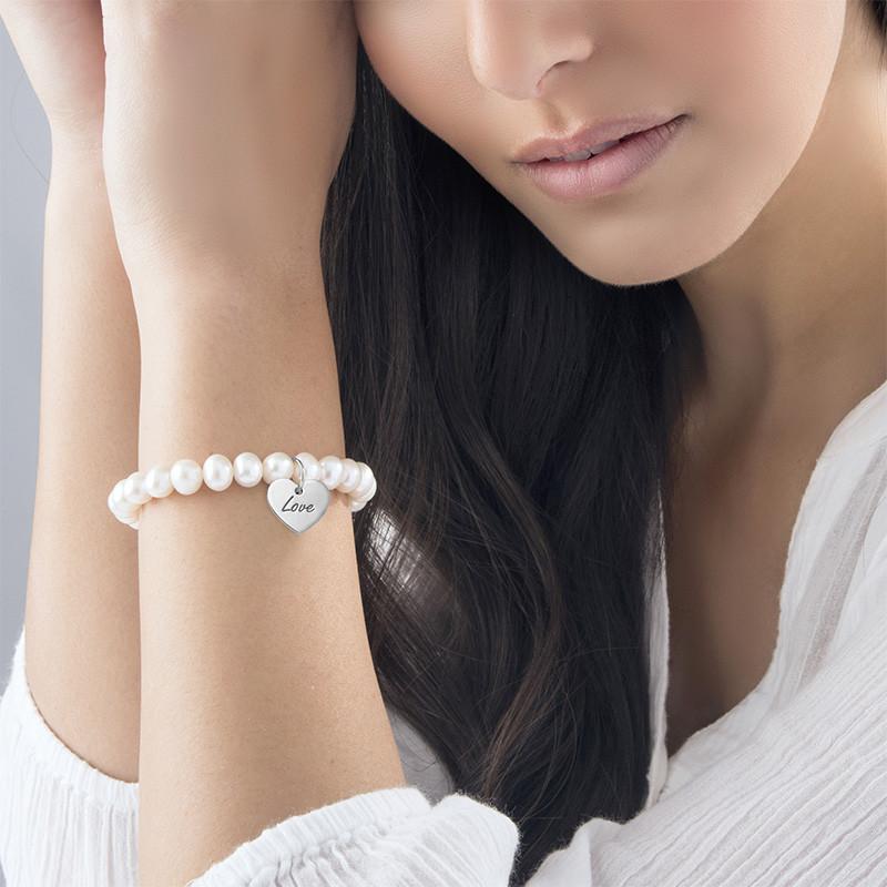 Perlearmbånd med vedhæng i sølv - 1