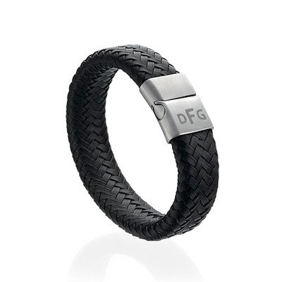 Herre armbånd med initialer i flettet læder - 1