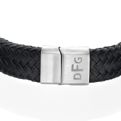 Herre armbånd med initialer i flettet læder - 2