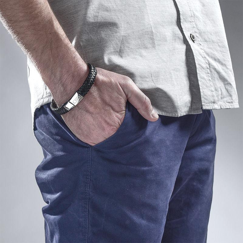 Flettet læderarmbånd til mænd med initialer - 2