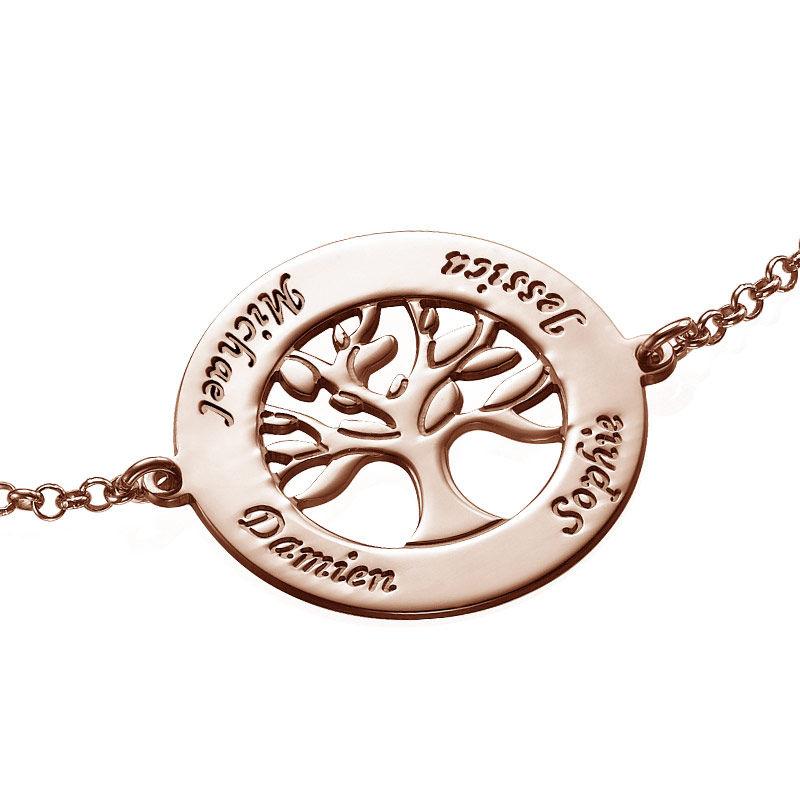 Livets træ armbånd med indgravering i rosaforgyldt sølv - 1