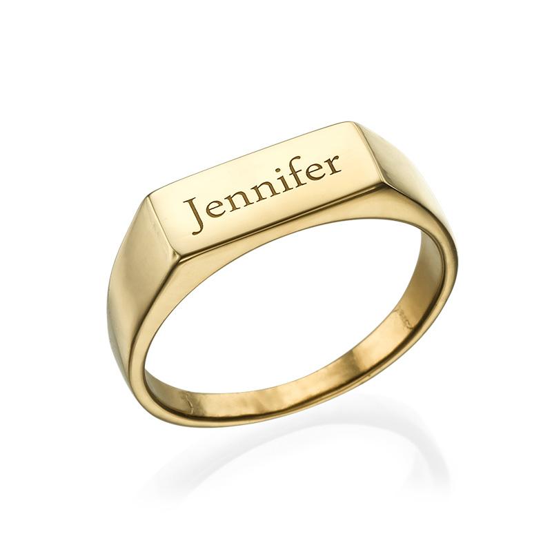 Indgraveret signet ring i forgyldt Sterling sølv