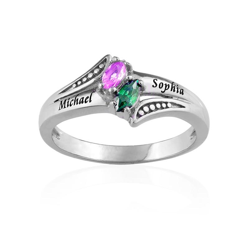 Personlig ring med indgravering og to fødselssten i sølv - 1
