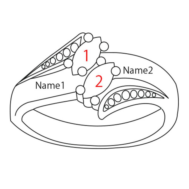 Personlig ring med indgravering og to fødselssten i forgyldt sølv - 4
