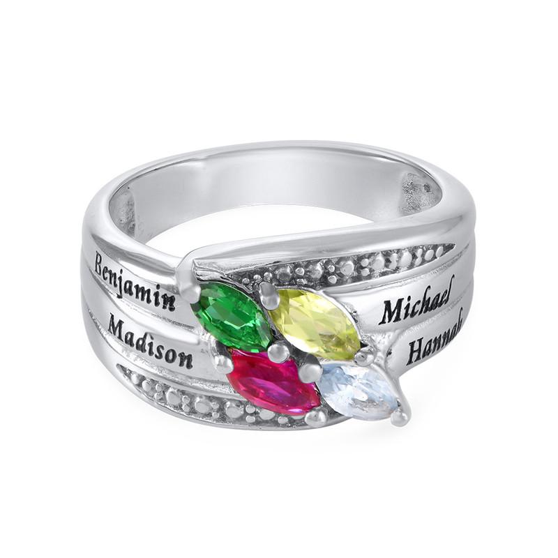 Mor ring med indgravering og fire fødselssten i sølv