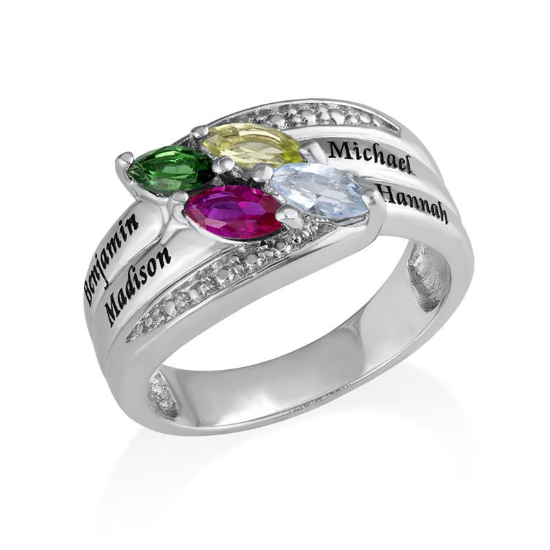 Mor ring med indgravering og fire fødselssten i sølv - 1
