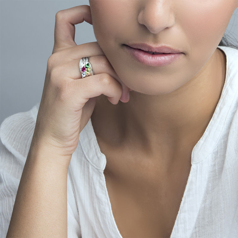 Mor ring med indgravering og fire fødselssten i sølv - 3