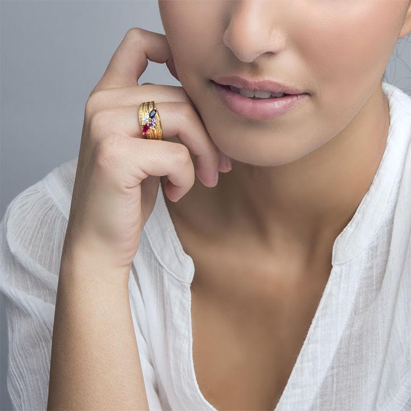 Mor ring med indgravering og fire fødselssten i forgyldt sølv - 3