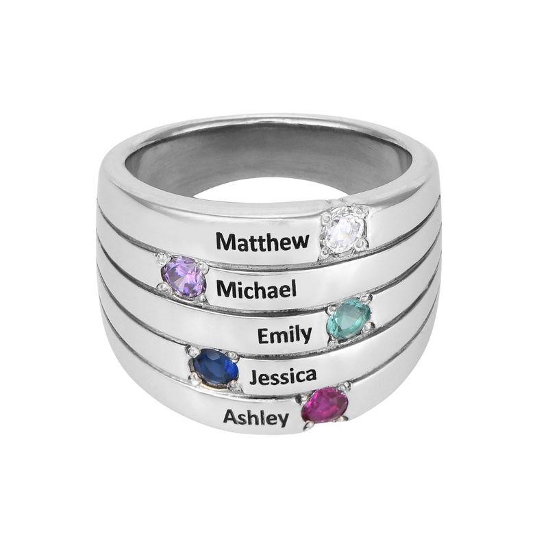 Indgraveret ring til mor med fem fødselssten i sølv