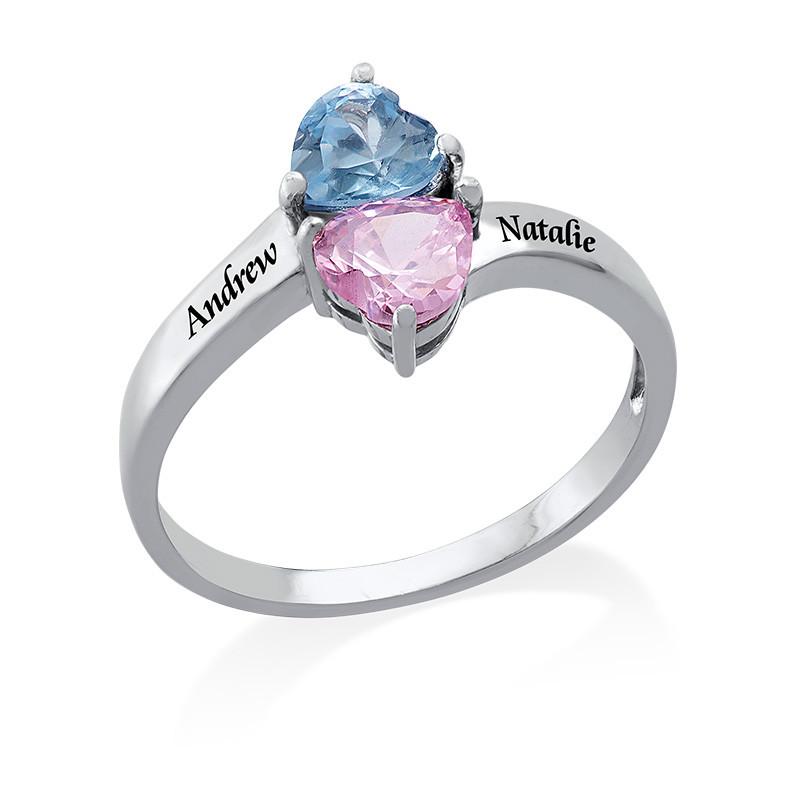 Indgraveret ring med hjerteformede fødselssten i sølv - 1