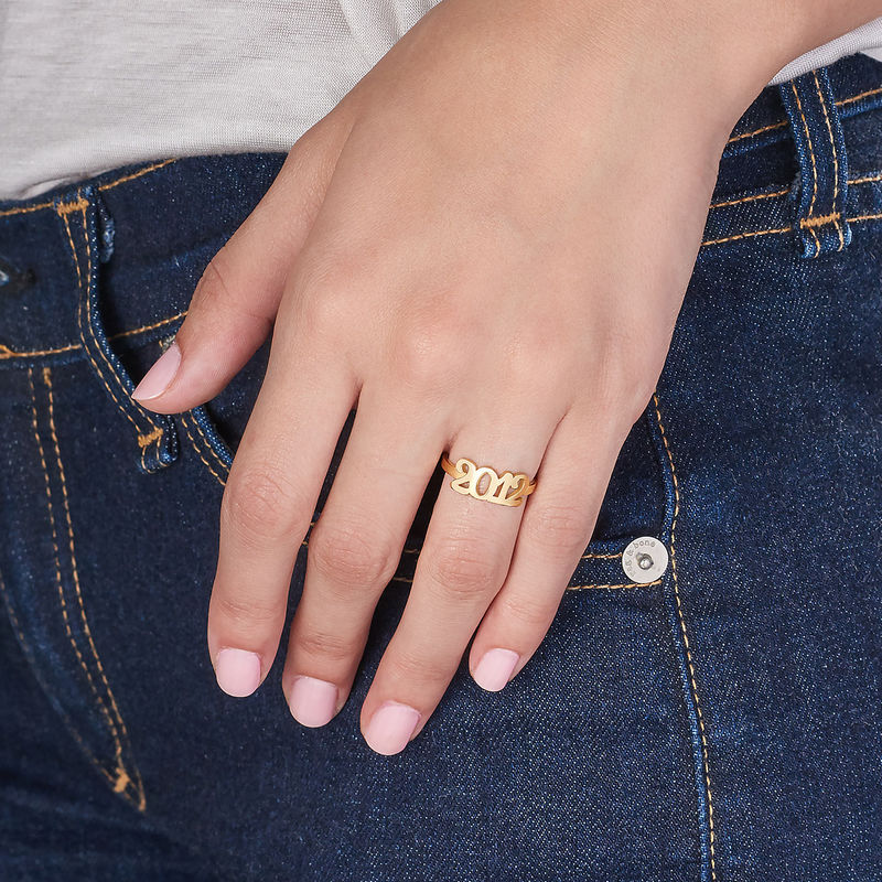 Personlig ring med nummer i 18 karat forgyldt sølv - 3
