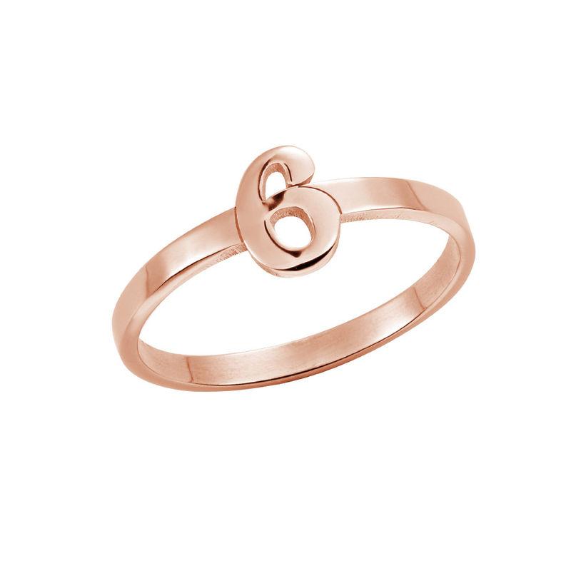 Personlig ring med nummer i 18 karat rosaforgyldt