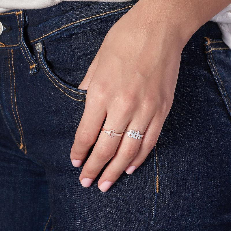 Personlig ring med nummer i 18 karat rosaforgyldt - 3