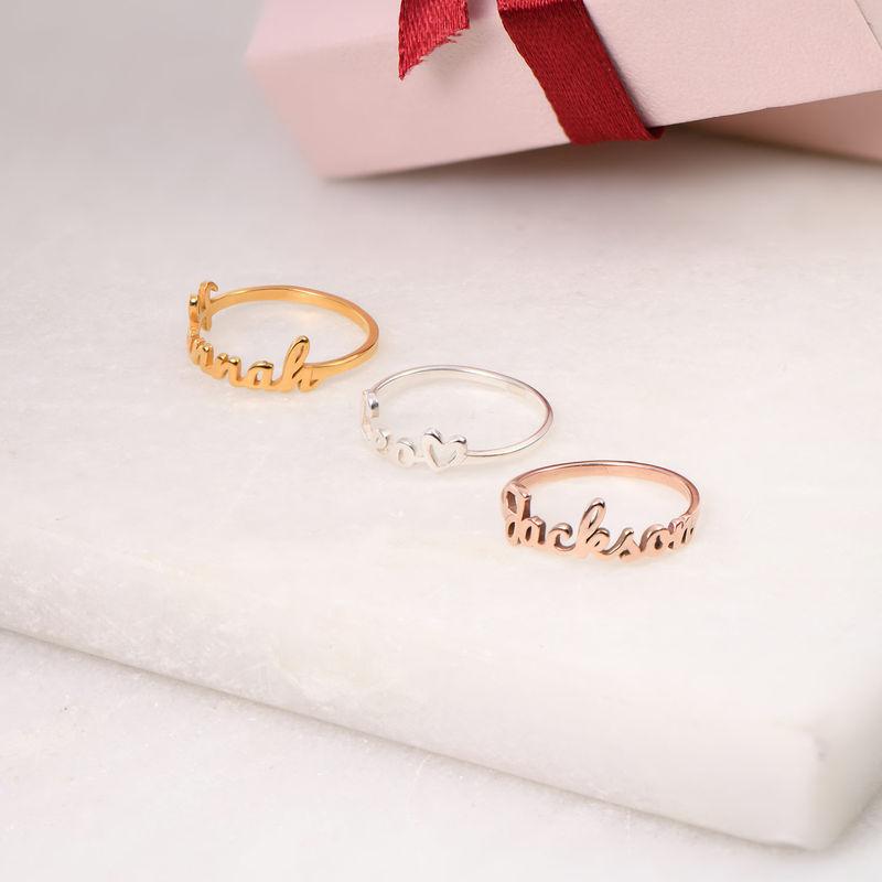 Navnering med håndskrift i rosaforgyldt sølv - 2