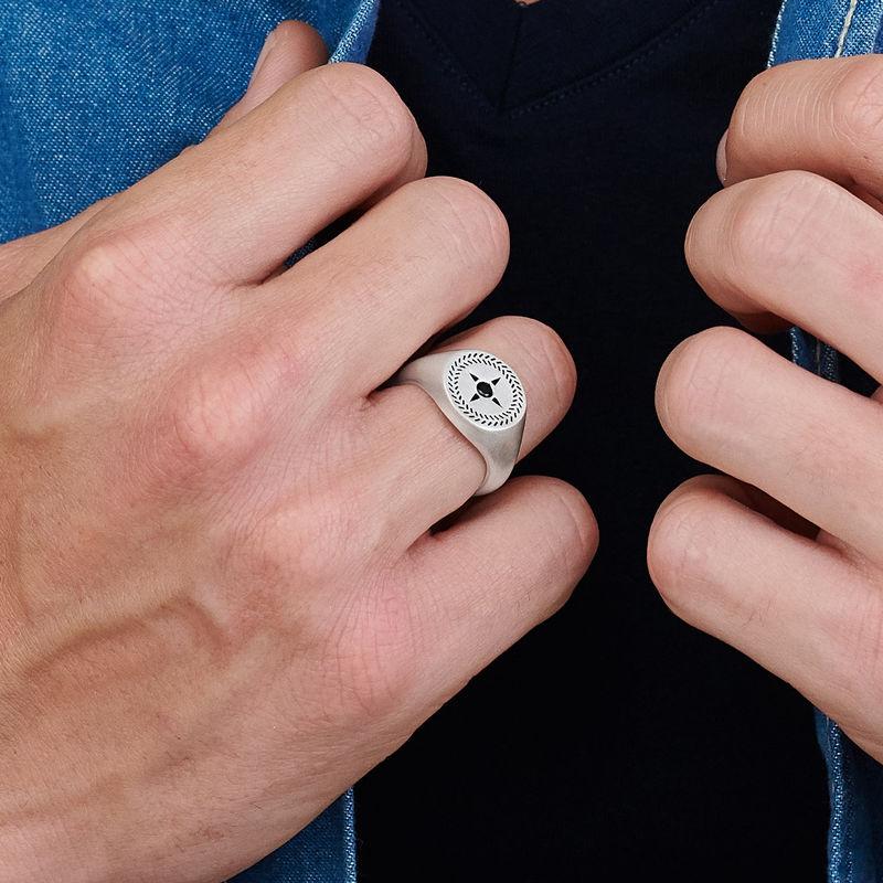 Personlig signet ring med kompas til mænd i sølv - 3