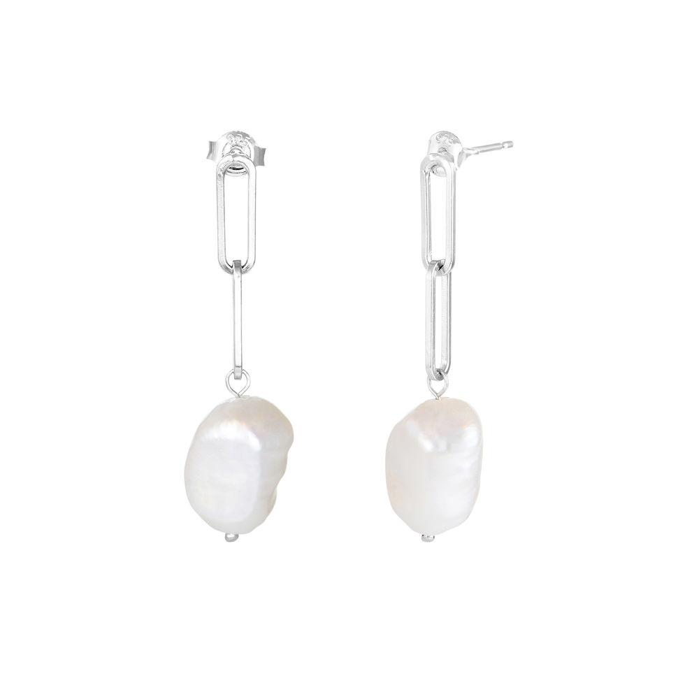 Barok perle øreringe i sterlingsølv