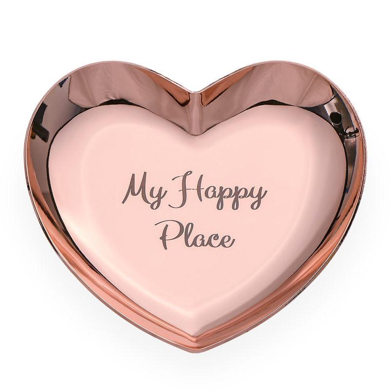 Hjerteformet personlig smykkebakke rosa - guldfarvet
