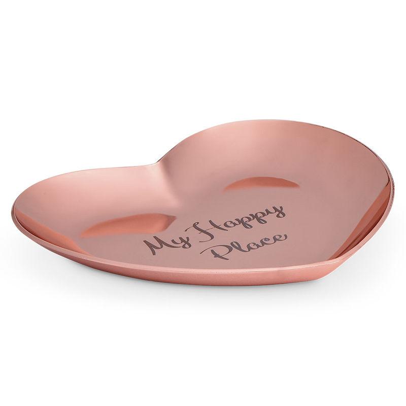 Hjerteformet personlig smykkebakke rosa - guldfarvet - 1