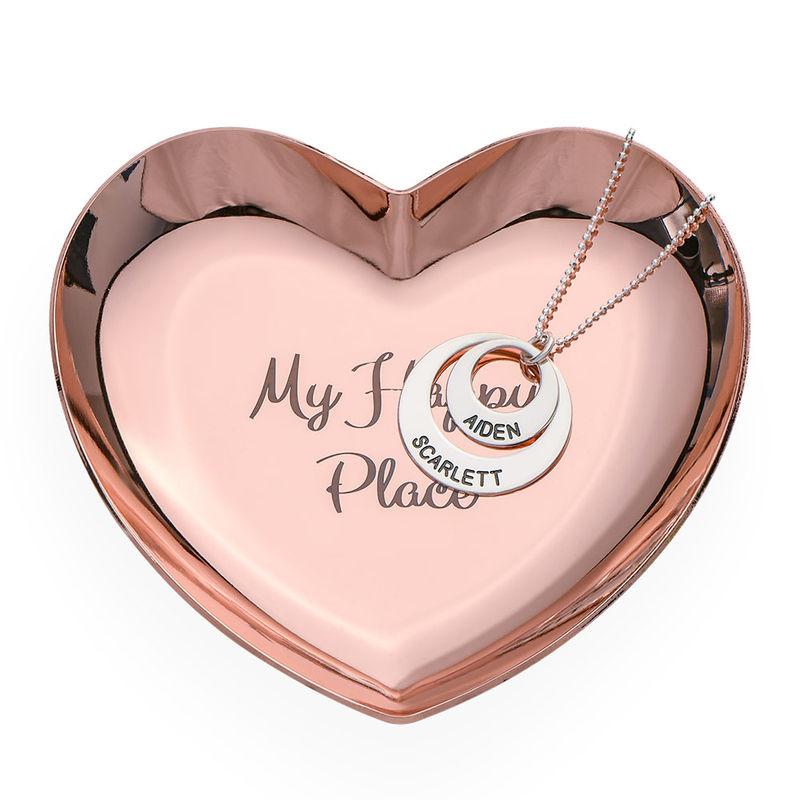 Hjerteformet personlig smykkebakke rosa - guldfarvet - 2
