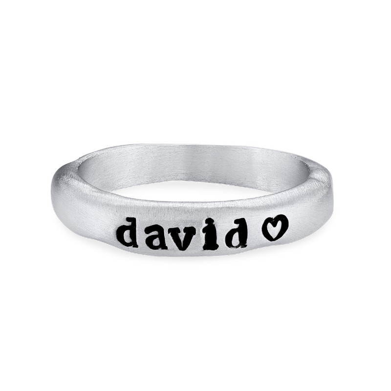 Stabelbar ring med navn i sølv