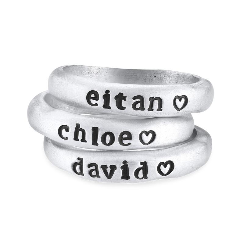 Stabelbar ring med navn i sølv - 2