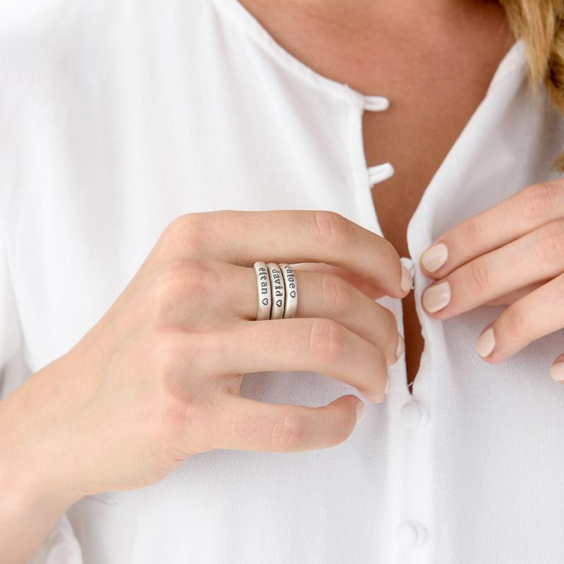 Stabelbar ring med navn i sølv - 5