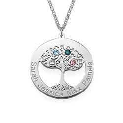 Livets træ halskæde med fødselssten i sølv produkt billede