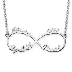 Infinity halskæde med fire navne i sølv produkt billede