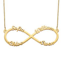 Infinity halskæde med fire navne i 14 karat sølv produkt billede