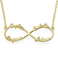 Infinity halskæde med fire navne i forgyldt sølv produkt billede