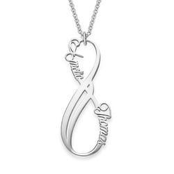 Vertikal infinity halskæde med navn i sølv produkt billede