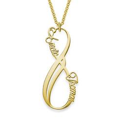 Vertikal infinity halskæde med navn i forgyldt sølv produkt billede