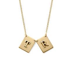 Personlig halskæde med bogstav - forgyldt produkt billede