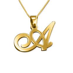 Initial halskæde med bogstav vedhæng i 14 karat guld produkt billede