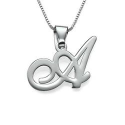 Initial halskæde med bogstav vedhæng i sølv produkt billede