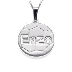 Personaliseret halskæde med fodbold vedhæng i 925s sølv produkt billede