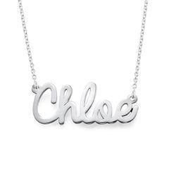 Kursiv navnehalskæde i sølv produkt billede