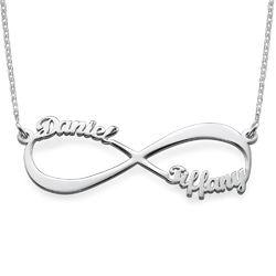 Infinity halskæde med navn i sølv produkt billede