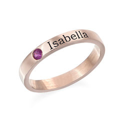 Stabelbar ring med navn og månedssten - 18 karat rosaforgyldt sølv produkt billede