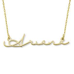 Navnehalskæde i signatur-stil - 10 karat guld produkt billede