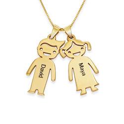 Mors halskæde med graverede børne-charms i 10 karat guld product photo