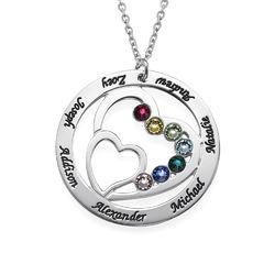 Cirkelformet hjertesmykke med fødselssten i sølv produkt billede
